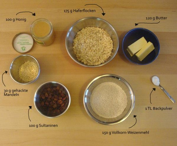 Müsli-Plätzchen Zutaten